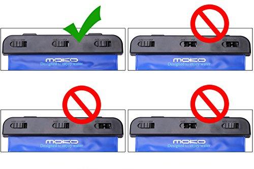 """MoKo Wasserdichte Hülle Tasche Schutzhülle Beachbag mit Halsband / Hand Strap für iPhone 7 7 Plus, Samsung Tab A 7.0 / S2 8.0, ASUS ZenPad S 8.0, Tab 2 A7-10/30, Tablet (bis zu 8.4"""") - IPX8, Schwarz Blau"""