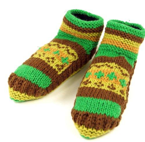 Guru-Shop Zapatillas de Lana, Zapatillas Hippies 41-43, Unisex - Adultos, Verde, Tama?o:42, Zapatillas de Lana