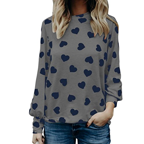 Damen Langarmshirt ,Frauen {Liebesdruck} Valentinstag Geschenk {Langarm} Crop Jumper Pullover Tops (Gray, S) (Pullover, Anorak)