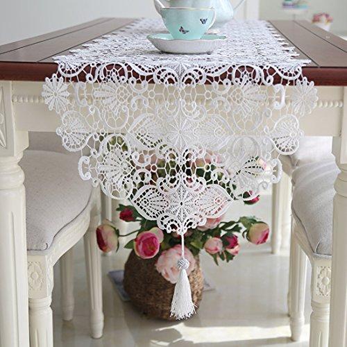 Ethomes Spitze Hohl Weiß Handgefertigt Stickerei Tischläufer mit Quaste für Tischdekoration 180cm (Stickerei-overlay)