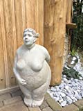Frauen Skulptur ° HILDA° Dicke Dame in Steinoptik ° Garten Figur ° Deko H 59 cm