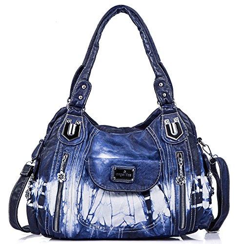 Satchel Schultertasche Handtasche (angel kiss Damen Handtasche Schultertasche PU Leder Top Griff Satchel Tote Bag (AK812-2Z Blue))