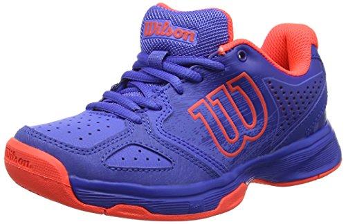 Wilson Tennisschuhe Kaos Comp Junior Safety, Blau/Violett/Koralle (Amparo Blue/Surf the Web/Fiery Coral), 37