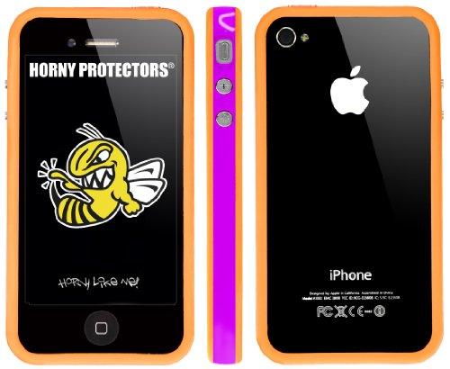 Horny Protectors Bumper für Apple iPhone 4 rosa/weiß mit Metallbutton lila/orange