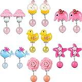 Hicarer 7 Paar Crystal Clip auf Ohrringe Mädchen Prinzessin Schmuck Ohrring und 7 Paar Ohrringe Pad in Rasa-Box