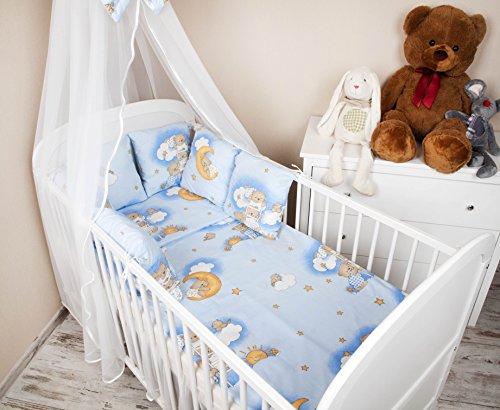 Baby a nido esterni letto con bordo 210 cm Design: orsetto sul scala blu letto Paracolpi con protezione rinforzata sugli angoli casco protettivo per arti marziali per bambini letto caratteristiche