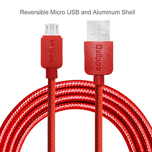 Premium Delippo® Blitzschnell Nylon Ummantelte USB 2.0 Male zu Micro USB Data Sync Ladekable Universaler Adapter Ideal f¨¹r Android Samung Galaxy Note S5 S4 S3 S2 2 3 4 Tab Note 10.1 2014 Edition  Google Nexus 5 4 7 9 10 2013  HTC One X M8   Moto G X  HTC One X M8  LG G3 G4  Nokia Lumia  Sony Xperia Handy Tablet HP  BlackBerry u.a. Tablet Smartphone (3.9ft/1.2m, Rot)