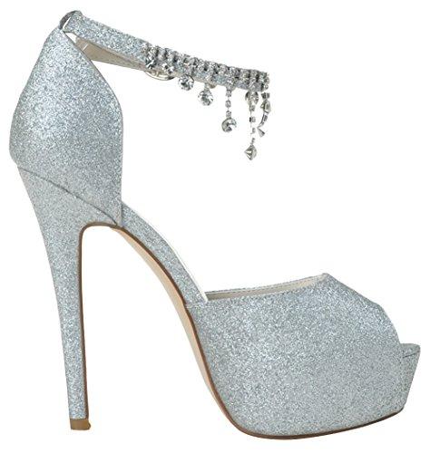 ZHENGXF Escarpins femme sexy Chaussure de marišŠe mariage Chaussure de talon Mode Argent