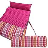 JEMIDI gepolsterte Strandmatte und Schwimmbadmatte 60cm x 180cm Pink/Orange mit Kissen