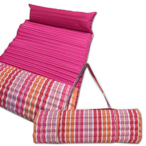 JEMIDI gepolsterte Strandmatte und Schwimmbadmatte 60cm x 180cm Pink/Orange mit Kissen Test