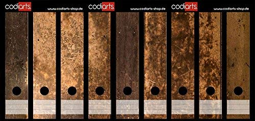 Juego 9pieza amplia carpeta madera rústica etiquetas