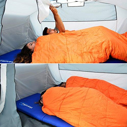 skandika Easy Air 3 XL | Aufblasbares Zelt mit Air Tubes | 3 Personen | Moskitonetze an Schlafkabine und Lüftung | Aufrollbare Dachabdeckung | 3.000mm Wassersäule | Eingenähter Zeltboden - 6