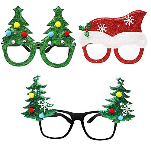 Cokeymove Weihnachten Brille Grün Kostüm Brillen Weihnachtsschmuck Innovative Neuheit Weihnachten Phantasie DIY Gläser Party Supplies