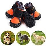 Petilleur 4Pcs Hundeschuhe Rutschfeste Hundeschuhe Pfotenschutz für Aktivitäten im Freien (90, Orange)