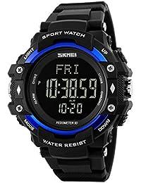 Yijia Digital LED 50m Buceo Relojes 3d podómetro PULSÓMETRO calorías contador Fitness reloj de pulsera deportivo