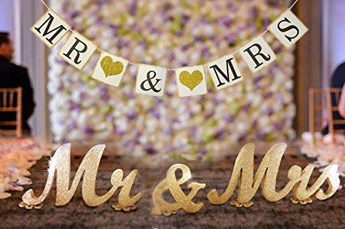 Meiysh Herr und Frau Schild und Mr & Mrs Banner für Hochzeit Sweetheart Tisch Decor Mittelpunkt, Herr und Frau Buchstaben, groß Dick MR & Mrs Schild Set Hochzeit Dusche Geschenk Dekoration (Mr Und Mrs Hochzeit Tisch Zeichen)