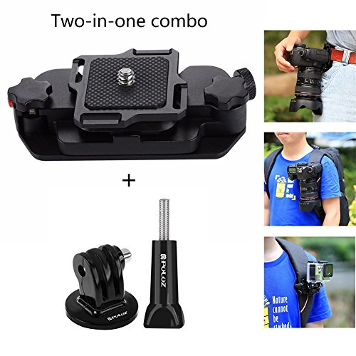 Joint Victory Belt Clip Holster Aluminum Alloy Strap Buckle Quick Release Clamp Plate with 1/4 Tripod Screw Mount for GoPro and Digital SLR Camera (for DLSR and GoPro)