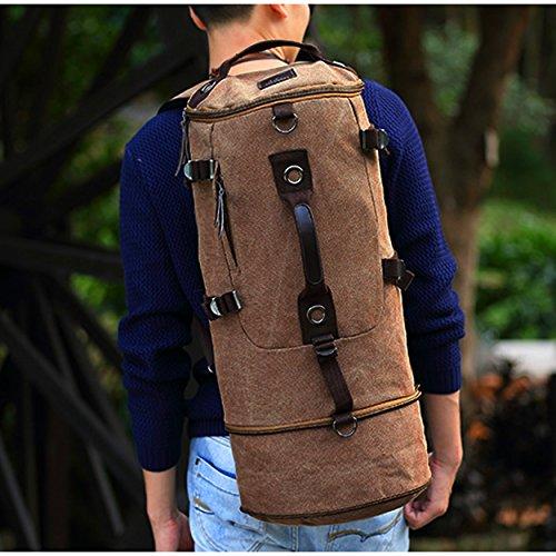 Qyuhe® Canvas Rucksack für Herren Wandern Daypack Backpack ideal für Reisen Campus Studenten und Outdoor Wandern, verlängernd Schwarz
