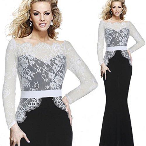Mavis's Diary Femme Robe Fishtail Maxi Polyester Manches Longues Dentelle Crochet Do Nu Noir