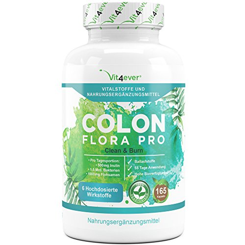 Colon Flora Pro – 55 Tage Kur – 165 Kapseln – All In One Clean & Burn Formel – Darmreinigungsformel mit Ballstoffen, Milchsäurebakterien Acidophilus, Flohsamen, Koffein, Calcium,