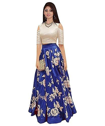 Ethnic Vila Women's Cotton Silk Lehenga Choli (Ev_0707,Blue,Free Size, Semi-Stitched)