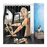 AMDXD Polyester Duschvorhang Teppich Toilettenmatte Set Schönheit Mädchen Fahren Design Badewanne Vorhang für Badezimmer Badewanne Bunt 150x180CM