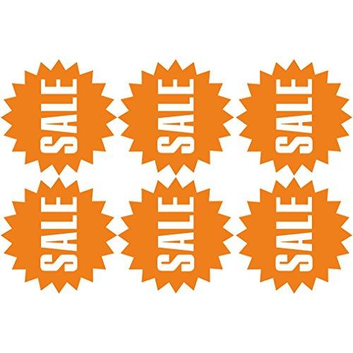 Pegatina de pared 6 pcs Etiquetas engomadas de la VENTA cárteles para negocios ( Orange)