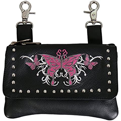 Hot Leathers, PINK BUTTERFLY CLIP POUCH PURSE with Studs Magnetic Snap Closure - 8