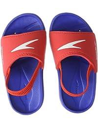 Speedo Atami Sea Squad Slide IM, Zapatos de Playa y Piscina Unisex niño, (New Surf/Lava Red 000), 21.5 EU