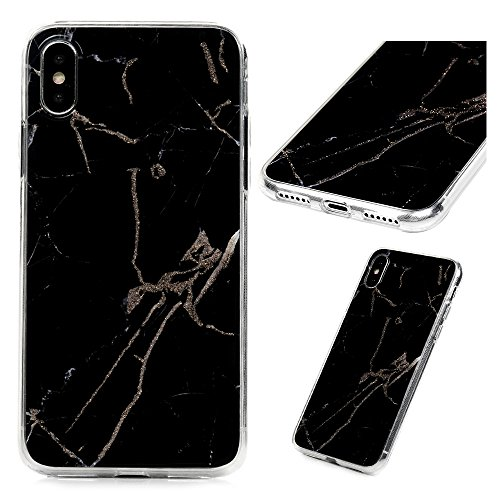 Edauto iPhone X Hülle Marmor Case Cover Handyhülle Schutzhülle Handyschale TPU Silikon Rahmen PC Rückseite Backcover Marble Cover Rückhülle Schale Stoßfest Handytasche Schwarz