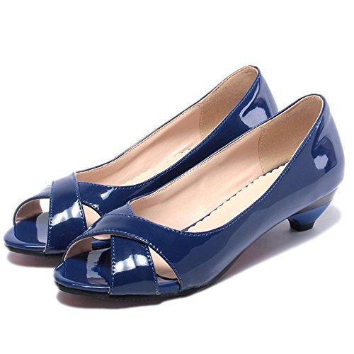 TAOFFEN Femmes Elegant Orteil Ouvert Escarpins Talon Bas Croise blue