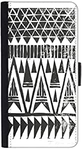 Snoogg Sketch Aztec Graphic Snap On Hard Back Leather + Pc Flip Cover Htc M7