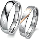 """JewelryWe Matching Mens & Womens Heart Shape Stainless Steel """"Real Love"""" Promise Ring Set Couples Engagement Wedding Bands, 2pcs (with Gift Bag). Please Email Sizes"""
