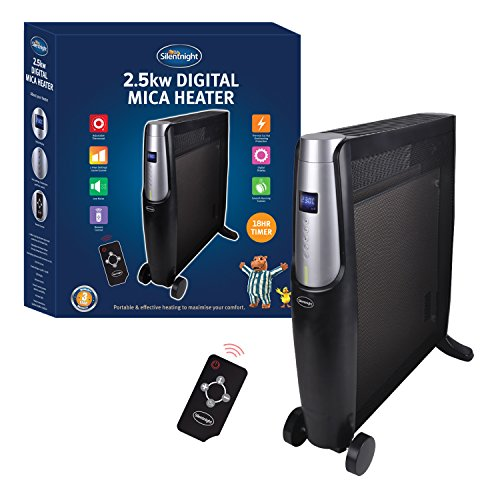 SILENTNIGHT Digital Mica Heater, 2500 Watt, Black, with Remote Control, heats up