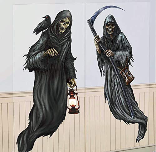 B-Creative 2 152,4 cm Sensenmann Zombie Geister Halloween Szenensetzer Party Wand Tür Dekoration Aufkleber Premium Wandbild