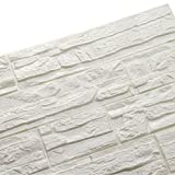 LEISU 3D Carta da Parati Mattoni Bianco DIY Adesivi muro di mattoni imitazione PE Schiuma Impermeabile Brick Wallpaper Stickers per Cucina Bagno Soggiorno Salone da letto 60x60cm(36pcs,bianca)