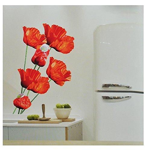 Preisvergleich Produktbild XXL Wandsticker / Sticker - Mohnblumen mit Stengel - Mohn Blüten - selbstklebend für Kinderzimmer und Deko Wandtattoo Aufkleber Blumen
