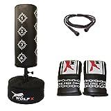 Wolf Target Standboxsack für Kinder, freistehend, Set mit Boxsack, Boxhandschuhen und Springseil, schwarz