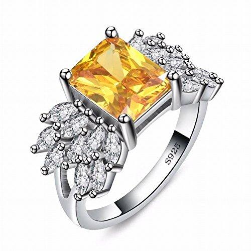 Mingxinjia fede nuziale in zircone con anello alla moda, platino giallo/placcato, 8