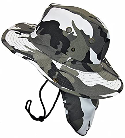 Boonie Bush Safari Outdoor Fishing Hiking Hunting Boating Snap Brim Hat Sun Cap with Neck Flap (City Camo, M) by S And W