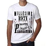 One in the City 1971,Cadeaux,Anniversaire,Manches Courtes,Blanc,Homme T-Shirt, Blanc, XXL