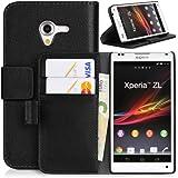 Handyhülle | Tasche | Cover | Case für das Sony Xperia ZL / L35h von DONZO in Schwarz Wallet Structure als Etui seitlich aufklappbar im Book-Style mit Kartenfach nutzbar als Geldbörse