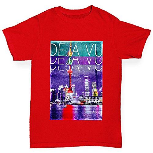 TWISTED ENVY Déjà Vu City Girl's Novelty Cotton T-Shirt, Comfortable and Soft Classic Tee With Unique Design