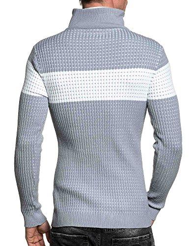 BLZ jeans - Pull homme gris côtelé double col montant Gris