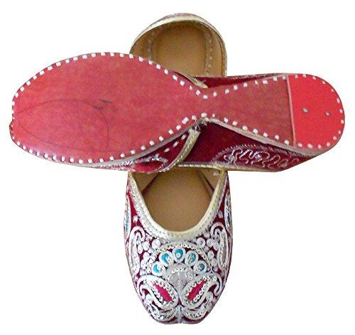 kalra Creations Femme indien traditionnel fait main en velours cuir Ballet Flats Bordeaux