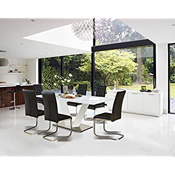 This Item Centurion Supports ALIANA Italian Styled Gloss White Extending Dining Table With Black Leather High Back Chairs 6