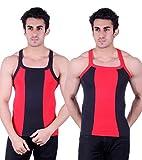 Zimfit Gym Vest - Pack of 2 (Black_Red_3...