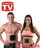 Six Pack Mobile Gym:Electroestimulador muscular digital portátil, inalámbrico–Trainer Pad con 6contactos con electrodos para fortalecer tus abdominales - Completamente inalámbrico –Electroestimulación EMS Comfort Fit para tonificare, reducir, reafirmar y mejorar la circulación sanguínea, entrena tus bíceps, tríceps, pectorales, abdominales, lumbares, glúteos y cuádricepsUnisex