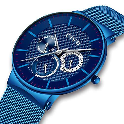CIVO Herren Uhr Multifunktions Datum Kalender Wasserdicht Quarzuhr Mode Luxus Lässige Luxus Sport Armbanduhr für Jugendliche Herren Edelstahl Mesh Blau Armband