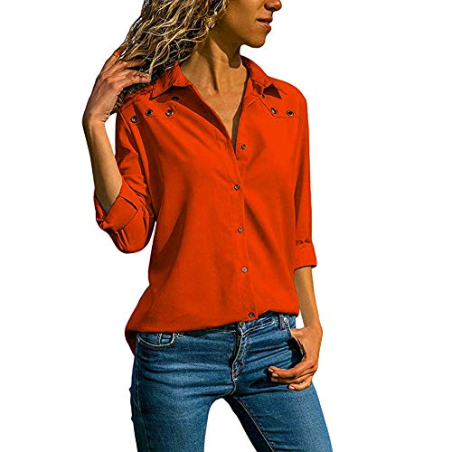 Oliviavan,Frauen V-Ausschnitt Reine Farbe Knopf Lange Ärmel Plus Size Tops Lose Bluse Bluse Mode Damenmode Tops Shirt Damen Ärmel Chiffon Langarm Casual Pullover T-Shirts Mantel Geh zur Arbeit